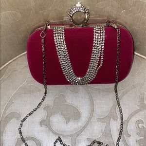 Handbags - Hot pink silver clutch with chain in daim